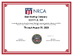 Best Roofing Company NRCA Membership Certificate 150 size
